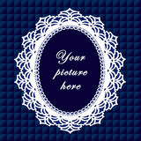 +EPS het blauwe Ovale Frame van het Kant, Naadloze Achtergrond Royalty-vrije Stock Afbeelding