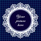 +EPS het blauwe Ronde Frame van het Kant, Naadloze Achtergrond Stock Fotografie