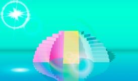 EPS10 het 3d teruggeven, groenachtig blauwe roze treden, stappen, abstracte achtergrond in overspannen pastelkleuren, manierpodiu royalty-vrije illustratie