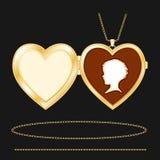 +EPS het gegraveerde Gouden Medaillon van het Hart met Kamee vector illustratie