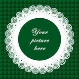 +EPS het groene Ronde Frame van het Kant, Naadloze Achtergrond Royalty-vrije Stock Afbeeldingen