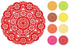 +EPS het Kant van de sneeuwvlok om Doily, 9 Heldere kleuren Stock Afbeeldingen
