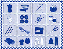+EPS het naaien & van de Ambacht Blauwe Pictogrammen, Stock Afbeelding