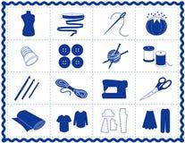 +EPS het naaien & van de Ambacht Pictogrammen, Blauw Silhouet Stock Fotografie