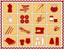 +EPS het naaien & van de Ambacht Pictogrammen, Karmozijnrood en Gouden Royalty-vrije Stock Foto's