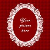 +EPS het rode Ovale Frame van het Kant, Naadloze Achtergrond Stock Foto