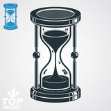 Eps8 highly detailed vector sand-glass illustration, additional. Version included. Antique classic hourglass. Retro clock silhouette Royalty Free Stock Image