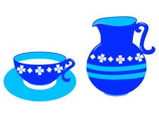 + EPS / Illustration of cup and jug with milk Royalty Free Stock Images