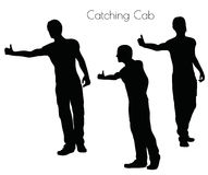 EPS 10  illustration of a man in Action Catching Cab  pose on white background Royalty Free Stock Photos