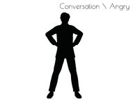 EPS 10  illustration of man in Conversation Angry pose on white background Stock Photo