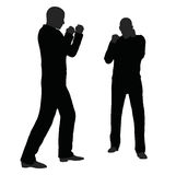 EPS 10  illustration of man in fight pose on white background Stock Image