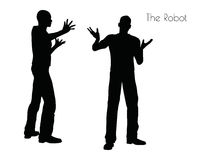 EPS 10  illustration of a man in The Robot pose on white background Royalty Free Stock Photos