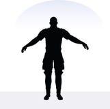 EPS 10  illustration of man in samurai pose on white background Stock Image