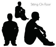 EPS 10  illustration of a man in Sitting On Floor  pose on white background Stock Photography