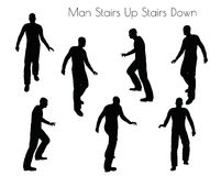 EPS 10  illustration of man in Stairs Up Stairs Down pose on white background Royalty Free Stock Images