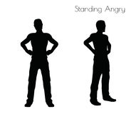 EPS 10  illustration of a man in Standing Angry  pose on white background Stock Image