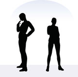 EPS 10  illustration of woman in anxious pose on white background Stock Image