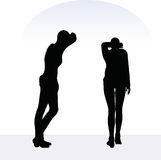EPS 10  illustration of woman in anxious pose on white background Stock Photo