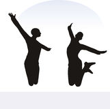 EPS 10  illustration of woman in excited pose on white background Royalty Free Stock Images