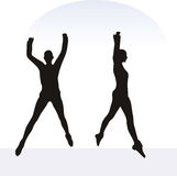 EPS 10  illustration of woman in excited pose on white background Stock Photo