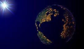 Eps 10 Imagem abstrata de uma terra do planeta sob a forma de um céu ou de um espaço estrelado, consistindo em pontos, em linhas, Imagem de Stock