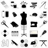 +EPS inzameling van het Naaien van en het Maken van Pictogrammen Royalty-vrije Stock Afbeeldingen