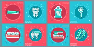 Dental Flat Icons Set in Circles. Vector Illustration for Dentistry and Orthodontics. EPS 10 and JPEG files Stock Images