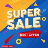 Super Sale banner template design. EPS 10 and JPEG files stock illustration