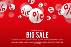 White sale sign over red background. EPS 10 and JPEG files Stock Illustration