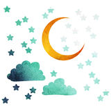 eps jpg księżycu, gwiazdach Obraz Royalty Free