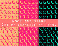 eps jpg księżycu, gwiazdach Ustaleni bezszwowi wzory wzór dla tapety, łóżkowa pościel, płytki, tkaniny, tła Fotografia Stock