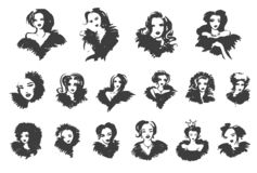 eps kartoteki dziewczyna zawierać wektor pani elegancka modne kobiety Modny projekt w nakreślenie stylu, ręka rysująca dziewczyna ilustracji