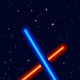 EPS10  light swords on night sky Royalty Free Stock Photography