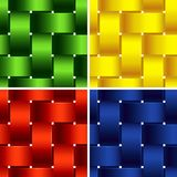 Plastic Basketwork. Four Bright Seamless Patterns. Royalty Free Stock Image