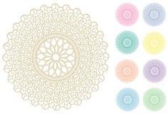 +EPS mit Filigran geschmückte Spitzerunder Doily, 9 Pastellfarben Stockfotografie