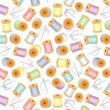 +EPS Naadloze Needles&Threads, Pastelkleur, Wit BG stock illustratie