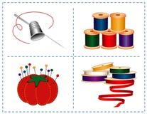 +EPS naaiende Toebehoren, Zilveren Vingerhoedje & Naald Stock Afbeeldingen
