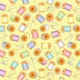 +EPS Needles&Threads sans joint, pastels, BG jaune illustration stock