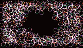 EPS10. Neon blurry circles at motion . Vector swirl trail effect . Abstract luminous rings slow shutter speed effect . Bokeh glitt. Neon blurry circles at motion Royalty Free Stock Images
