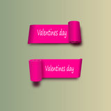 EPS 10. Pink ribbons on the day of St. valentine. Vector with shadows  a white background. Royalty Free Stock Photography
