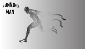 EPS 10. Runner of the particles. The man runs and the wind out of him pulling out pieces in the shape of a circle. Vector illustra Stock Image