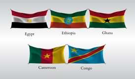 Set Flags of Countries in Africa. Waving flag of Egypt, Ethiopia, Ghana, Cameroon, Congo. Vector illustration Stock Photos