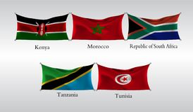 Set Flags of Countries in Africa. Waving flag of Kenia, Morocco, Republic of South Africa, Tanzania, Tunisia. Vector illustration Stock Photo