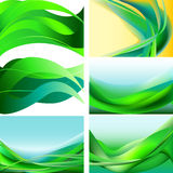 199 eps. Set of green, blue, yellow waves abstract background Royalty Free Stock Images
