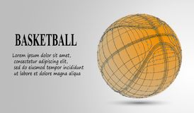 Silhouette of a basketball ball. Dots, lines, triangles, text, color effects and background on a separate layers, color can be cha. Eps10. Silhouette of a stock illustration