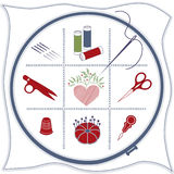 +EPS Stickerei-Ikonen: Rot, White&Blue Stockbild