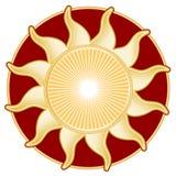 +EPS Sun de oro, rojo Imagenes de archivo