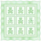 +EPS Teddybär-Steppdecke, nebelhaftes Grün Stockbild