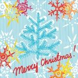 圣诞节贺卡明信片编辑可能的模板。EPS 10 vecto 免版税库存照片