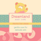 70.eps. Vector background with a label for Baby cosmetic. Advertising Baby cosmetic. Country of dreams Royalty Free Stock Photography